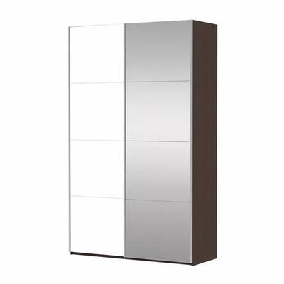 Шкаф Прайм 2-дверный (Фасад Зеркало/Белое стекло) ш 1400