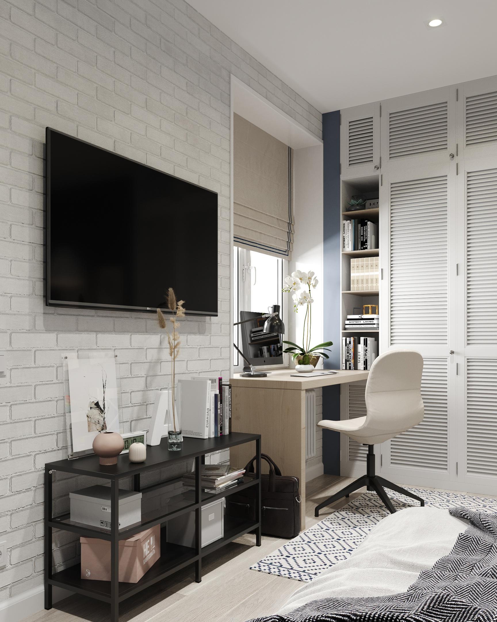 Проект квартиры-студии для семьи с ребенком школьного возраста.