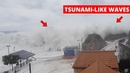 Tsunami-Like Waves Overrun Small Harbor in Italy During Storm  Tyrrhenian Sea