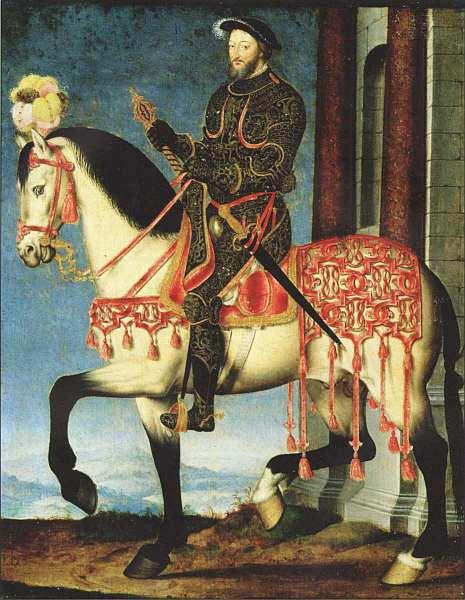 «Конный портрет Франциска I», Франсуа Клуэ Около 1540. Холст, масло. Размер: 27,5x22,5 см. Галерея Уффици, Флоренция Франсуа Клуэ, придворный живописец нескольких французских монархов, оставил