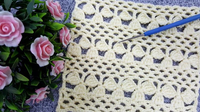 3 yapraklı yonca modeli Tığ işi çeyizlik etol şal yelek modeli Örgü model crochet knitting