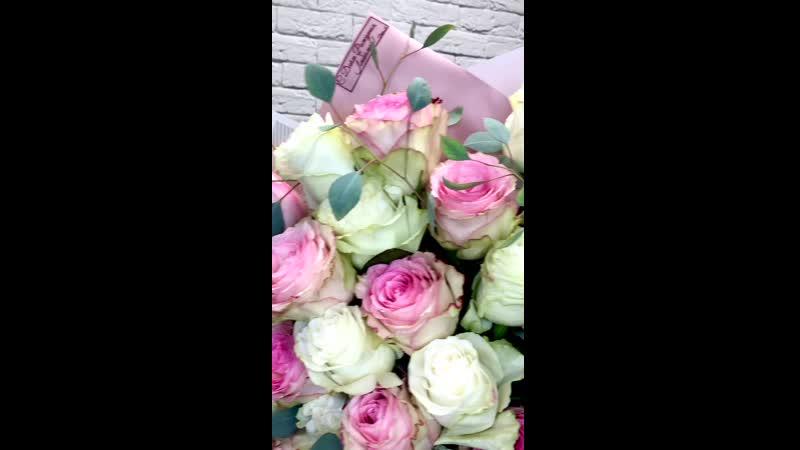 Шикарный букет роз для любимой в день Рождения🔥 Состав 25 роз Эквадор Эвкалипт 3200₽