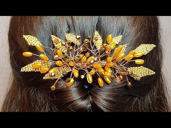 Beaded hairpin hair comb Заколка из бусин и бисера Гребень из бусин и бисера Заколка своими руками