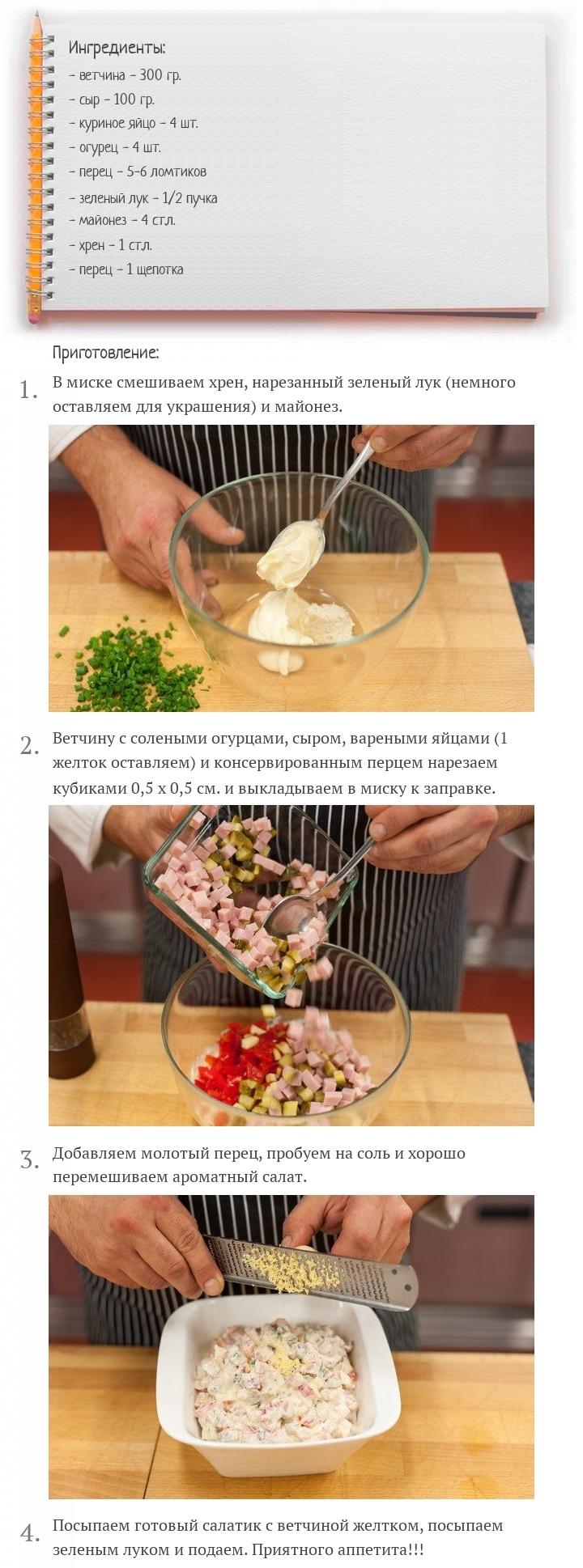 Салат с ветчиной, сыром и овощами, изображение №2
