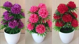 DIY Tutorial Cara membuat Bunga Hias dari Plastik Kresek | How to make Flower from Plastic Bag