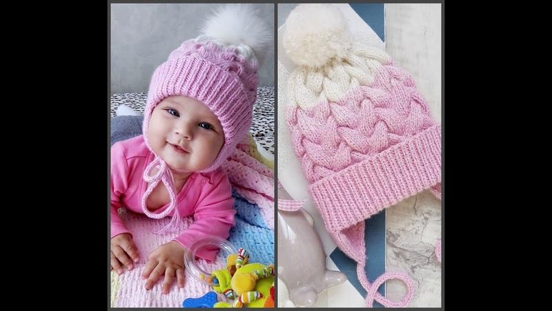 шапкаспицами ЧАСТЬ 3 Вяжем вместе детскую шапку с двойными ушками с вязаным подкладом
