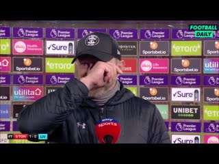 Southampton boss Ralph Hasenhuttl blaming the wind for the tears in his eyes after his 1-0 win over Liverpool!