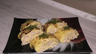 Картофельно-сырный рулет с курицей
