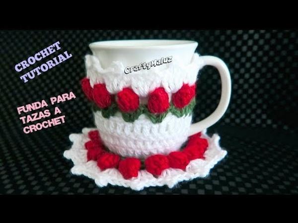 CROCHET TUTORIAL ♥ FUNDA FLORES DE TULIPÁN PARA TAZAS A CROCHET Cubre tazas a crochet paso a paso